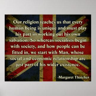 Cita de la religión de Thatcher Póster