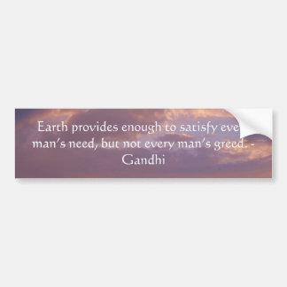 Cita de la sabiduría de Gandhi con el cielo de Bro Etiqueta De Parachoque