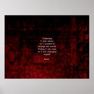 Cita de la sabiduría de Rumi sobre cambio y Póster