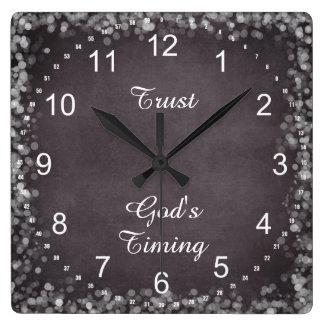 Cita de la sincronización de dios de la confianza reloj