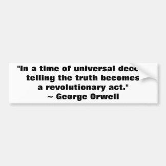 Cita de la verdad de George Orwell Pegatina De Parachoque