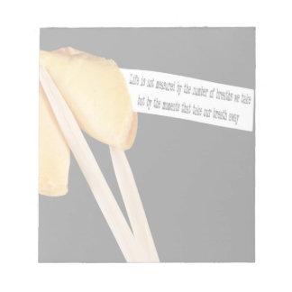 Cita de la vida de la galleta de la suerte bloc de papel