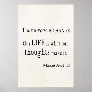Cita de la vida del cambio del universo de Marco A Póster