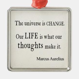 Cita de la vida del cambio del universo de Marco Adorno Cuadrado Plateado