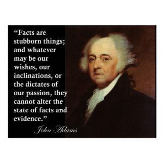 Cita de las cosas obstinadas de John Adams los Tarjeta Postal