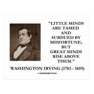 Cita de las mentes de las pequeñas mentes de tarjetas postales