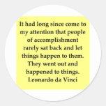 cita de Leonardo da Vinci Etiqueta Redonda