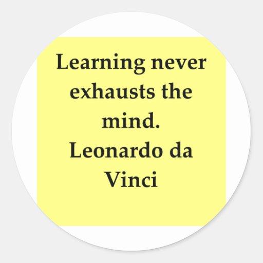 cita de Leonardo da Vinci Etiquetas Redondas