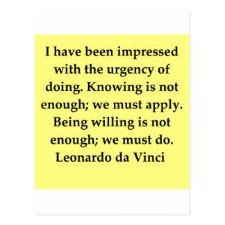 cita de Leonardo da Vinci Postal