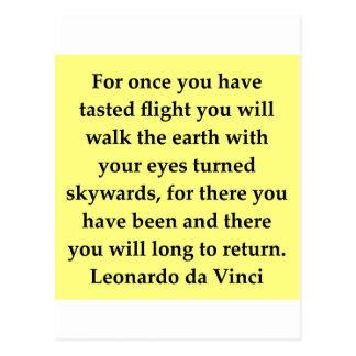 cita de Leonardo da Vinci Tarjeta Postal