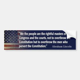 Cita de Lincoln: pervierta la constitución Etiqueta De Parachoque