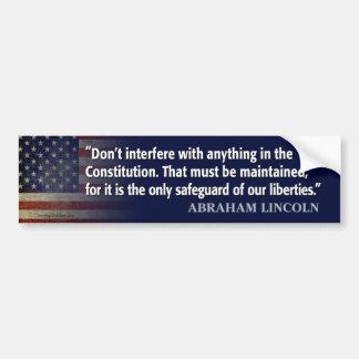 Cita de Lincoln: proteja la constitución Pegatina Para Auto