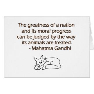 Cita de los animales de Gandhi con el gato Tarjeta