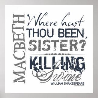 Cita de los cerdos de la matanza de Macbeth Poster