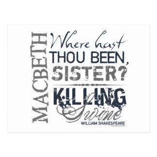 Cita de los cerdos de la matanza de Macbeth Tarjeta Postal