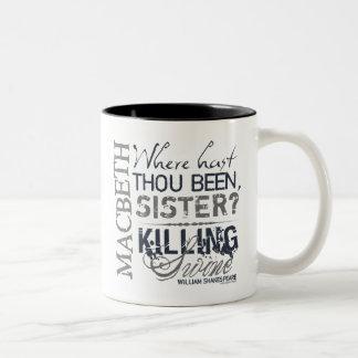 Cita de los cerdos de la matanza de Macbeth Tazas De Café
