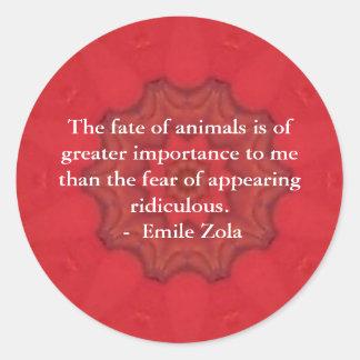 Cita de los derechos de los animales de Emile Etiqueta Redonda