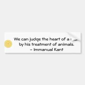 Cita de los derechos de los animales de Immanual K Pegatina Para Auto