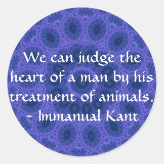 Cita de los derechos de los animales de Immanual Pegatinas Redondas