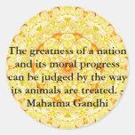 cita de los derechos de los animales - Mahatma Pegatina Redonda