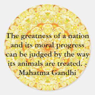 cita de los derechos de los animales - Mahatma Etiquetas Redondas