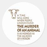 Cita de los derechos de los animales pegatina redonda