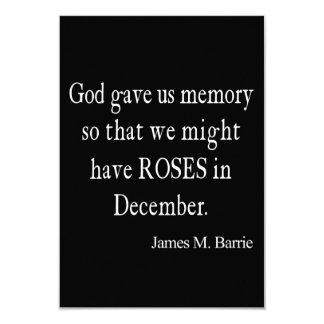 """Cita de los rosas de James Barrie del vintage en Invitación 3.5"""" X 5"""""""