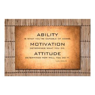 Cita de Lou Holtz y fondo de motivación del bambú Fotografía