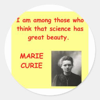 Cita de Marie Curie Pegatina Redonda