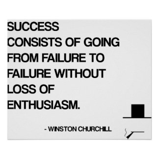 Cita de motivación de Churchill - éxito Póster