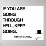 Cita de motivación de Churchill - pasando con infi Posters