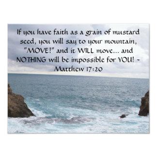 Cita de motivación de la biblia del 17:20 de invitación 10,8 x 13,9 cm