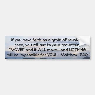 Cita de motivación de la biblia del 17:20 de Matth Etiqueta De Parachoque
