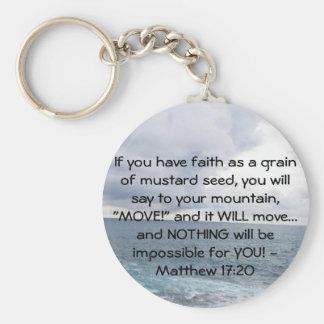 Cita de motivación de la biblia del 17:20 de Matth Llavero Redondo Tipo Pin