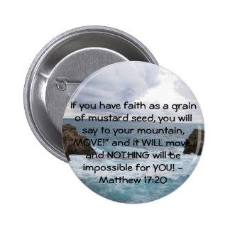 Cita de motivación de la biblia del 17:20 de Matth Pin Redondo De 2 Pulgadas