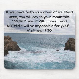 Cita de motivación de la biblia del 17:20 de Matth Alfombrillas De Ratón