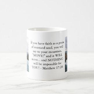 Cita de motivación de la biblia del 17:20 de Matth Taza De Café