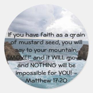 Cita de motivación de la biblia del 17:20 de pegatina redonda