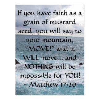 Cita de motivación de la biblia del 17:20 de tarjetas postales
