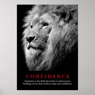 Cita de motivación de la confianza del león negro póster
