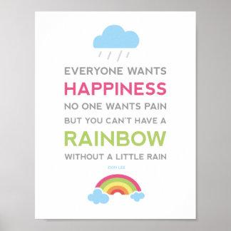 Cita de motivación de la felicidad póster
