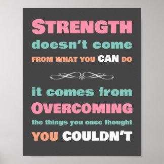 Cita de motivación de la fuerza póster