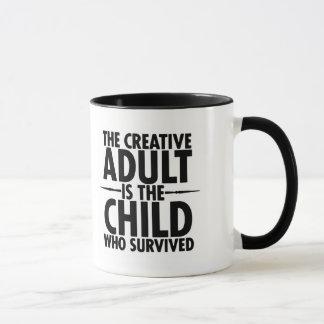 Cita de motivación de la tipografía creativa taza