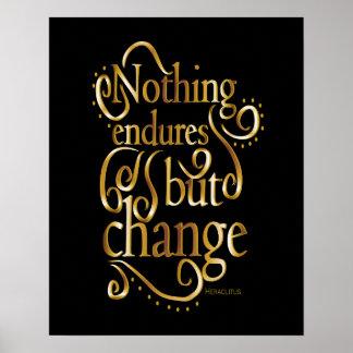Cita de motivación del cambio positivo póster