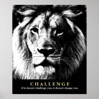 Cita de motivación del desafío del león blanco póster
