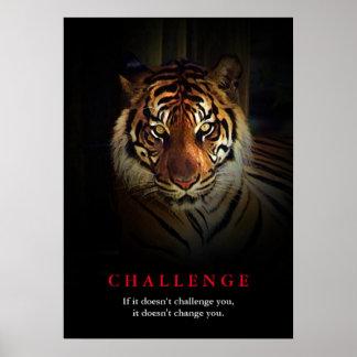 Cita de motivación del desafío del tigre póster