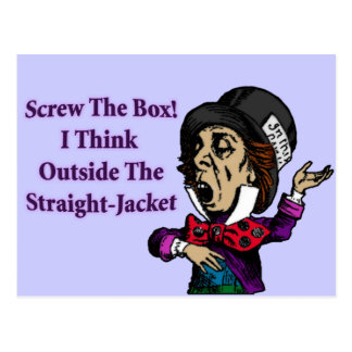 Cita de motivación divertida del sombrerero enojad postales
