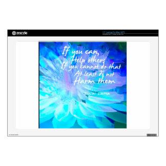 Cita de motivación en flor azul skins para 43,2cm portátiles