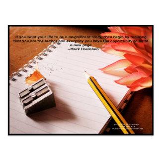 Cita de motivación-- Haga vida una historia Postal