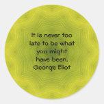 Cita de motivación inspirada de George Eliot Pegatina Redonda
